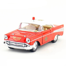 1:40 KINSMART Police Car Toy Diecast & ABS 1957 Fire Chief Classic Cars Model Miniature Vintage Vehicle Models Kids Toys Juguets