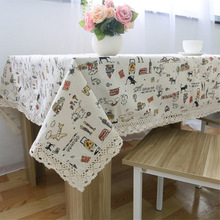 Pastoral Super Quality Linen Lace Tablecloth for The Table Cat Table Placemats Table Cloth for Square and Rectangular Table