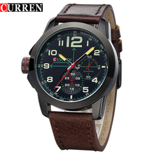 Curren Watches Men Top Brand Luxury Cow Leather Strap Quartz-Watches Sport Men's Watches Waterproof Relogio Heren Hodinky 8182B(China)