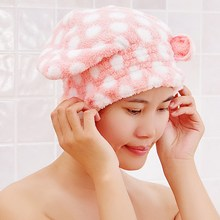 Cute Dry Hair Hat Shower Caps Soft Breathable Microfiber Textile Hair Turban Quick-dry Hair Hat Elastic Wrapped Bathing Towel