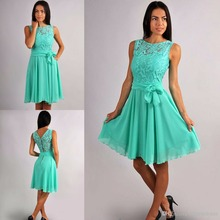 Mint Chiffon Short Rustic Bridesmaid Dresses Sleevelesss Lace Top Summer Informal Country Bridesmaid Gowns Knee Length A-line