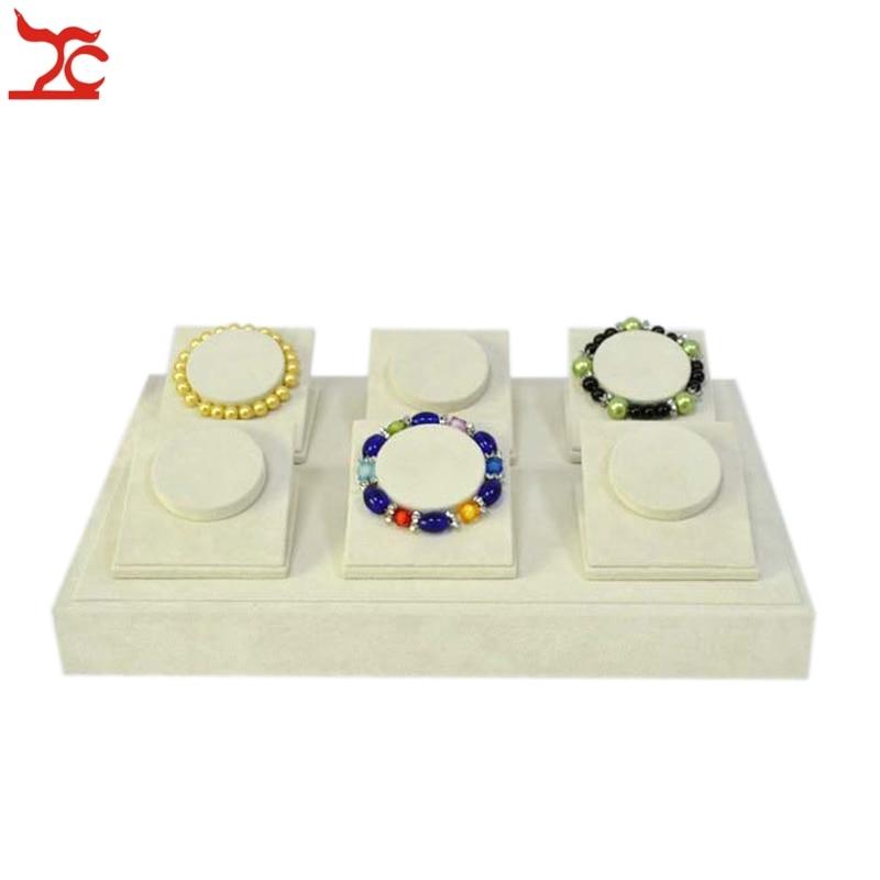 High Quality Jewelry Bracelet Display Stand Beige Velvet Bangle Holder Wooden 6 Pcs Bracelet Display Stand Tray 35*25*8CM