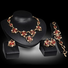 Luxury Elegant Women Jewelry Sets Necklaces Pendant/Earrings/Ring Multicolor Cubic Zircon Wedding Jewlry Accesories H7610 T30(China)