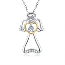 PYX0177 100% Real Pure 925 Sterling Silver Angel Wings Crystal Hollow Pendant Necklace Gold Color Love Heart gift For Women