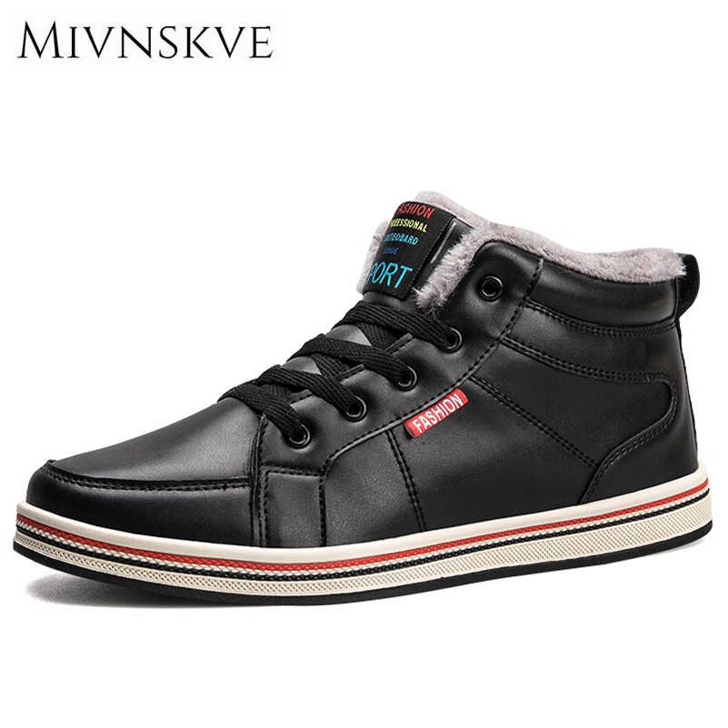MIVNSKVE Super Warm Winter Leather Shoes Men Casual Shoes With Fur Keep Warm Snow Shoes Mens Sneakers Outdoor Ankle Boots 39-48<br>