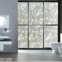 45*200cm long  Opaque Privacy Glass Window Film 3D embossing European flower static Cling Window stickers Office bathroom