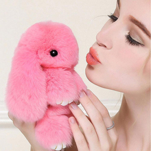 Cute Rex Rabbit Fur Keychain Bunny Pom Ball Doll Toy  Handbag Pendant Decor Home Car Hanging Decorative toys for little Girl
