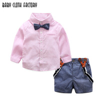 Buy 2017 gentleman formal baby boys clothing sets infant spring autumn tie shirt+overalls party wedding two-piece suit boys clothes for $15.00 in AliExpress store