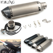 Buy Universal 35-51MM Motorcycle Exhaust Pipe Muffler GP Escape Exhaust Mufflers Carbon Fiber Exhaust Pipe ATV Scooter racing for $33.99 in AliExpress store