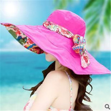 Hot 2015 Women Fashion Anti-UV Summer Hats Collapsible Face Protection Beach Hat Wide Big Brim Adjustable visor Sun Hat