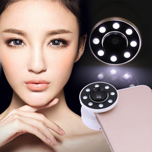 Portable 0.65X Photography Selfie Light 8 LED Wide-Angle Len 15X Micro Len Fill Light For iPhone(China)