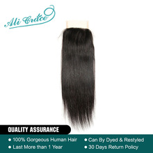 Ali Grace Hair Brazilian Straight Hair Lace Closure 4*4 Free/Middle Part Closure 100% Remy Human Hair Shipping Free (China)