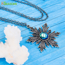 "8SEASONS Resin Mermaid Fish /Dragon Necklace Antique Silver & Gunmetal Christmas Snowflake Blue AB Color Fish 56cm(22""),1 PC"
