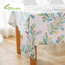 Table Coth Rectangular Pastoral Style Tropical Plants Printed Green Tablecloth Home Protection and decoration Elegant Tablecloth(China)