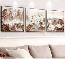 3 pieces of floral 5d diy diamond embroidery needlework cross stitch kit sticker magic diamond painting Crystal orchid