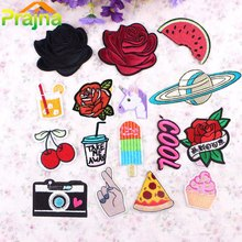 1PCS DIY Fruit Flower Patch Pizza Cheap Embroidered Cute Patches Food Iron On Cartoon Patches For Clothing Kids Jeans Badges(China)