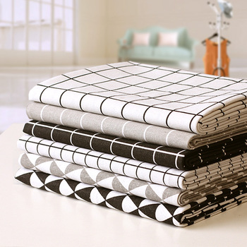 22Designs Grid Print Linen Cotton Fabric Black Grey Linen Cotton Fabric Patchwork Cloth for sew Tablecloth Curtain Pillow