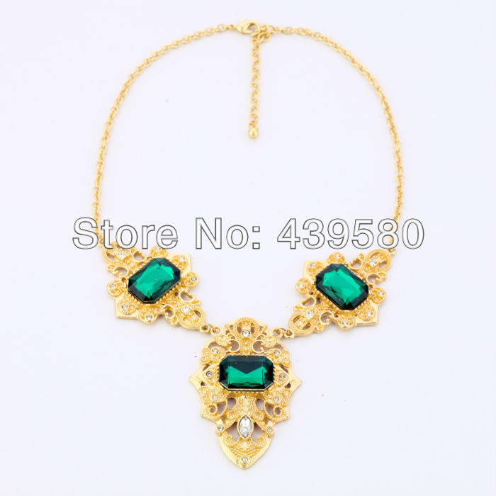2016 New Hot Sale Jewelry Major Suit 2014 Accessories Gold Color Green Glass Stone Necklaces Jewelry(China (Mainland))