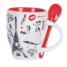 European And American Style 300ml France Brand Illustration Painted Ceramic Mug Coffee Mugs And Cups With Spoon Mugs-017(China)