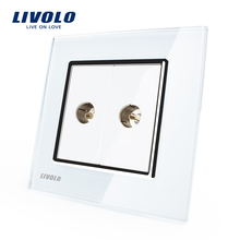 Wholesale/Retail, White Crystal Glass Panel, 2 Gangs TV Socket / Outlet VL-C792V-11, Without Plug adapter