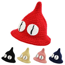 Child Bucket Hat Winter Cartoon Big Eyes Knitted Hat for Girls and Boys Witch Style Handmade Crochet Hat