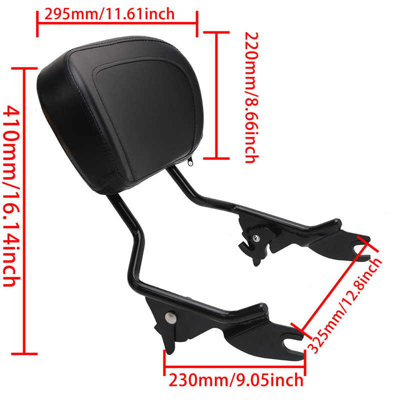 Adjustable Detachable Backrest Sissy Bar With Pad Passenger Backrest For Harley Davidson Touring Road King Electra Street Glide 2009-2017 (4)