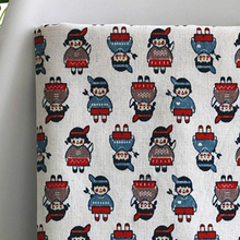 Cartoon China Dolls Patterned Fabric Natural Linen Table Cloth Textile(China)