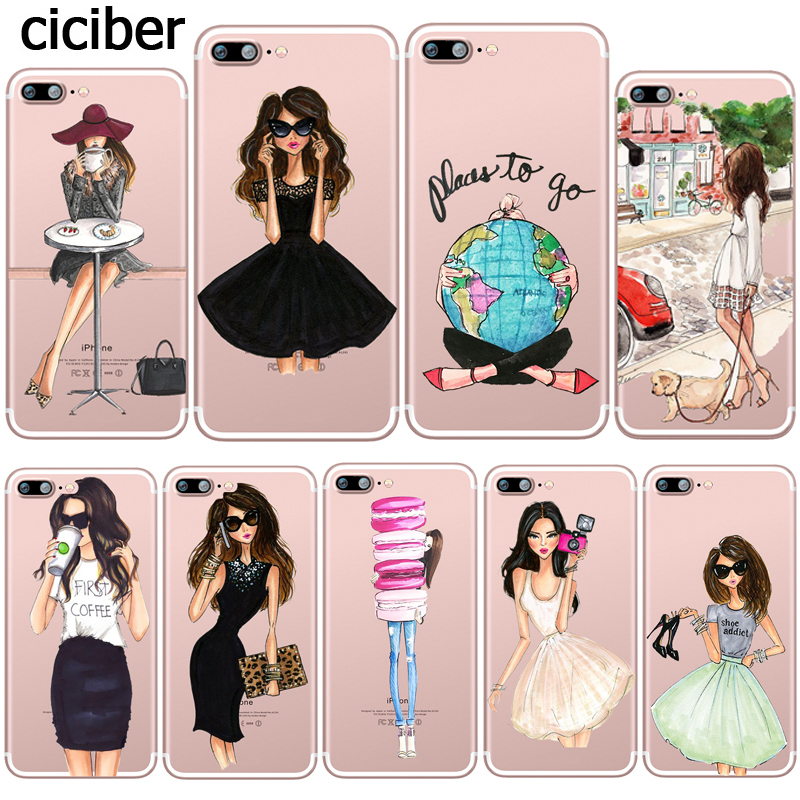 Phone Case Travel Girls Sexy Lady Dress Shopping Patterned Transparent Silicone Fundas for Apple iphone 7 SE 5S 6S plus 6Plus(China (Mainland))