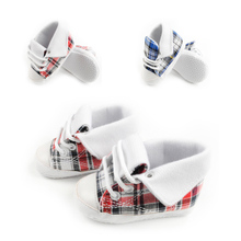1pair Plaid Boys Shoes Kids Sneakers Girls First Walkers Newborn Baby Footwear infantil Sapato -- ZYS34 PT15 Wholesale