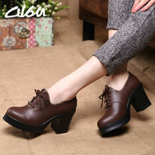 O16U Women Pumps shoes Leather Avant Art  Pointed Toe Lace up sexy High heel Brand Designer ladies platform Black Wine red Y256