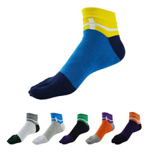 (6Pairs/lot)High Quality Combed Cotton Men's Socks Male Fashion Short Ankle Socks Men Colorful Casual Five Finger Toe Socks