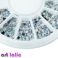 Artlalic Mix 6 Styles Sizes AB Rainbow Nail Art Studs Rhinestones Glitter Diamond Gems 3D Tips Decoration Wheel