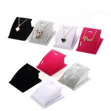 Fashion 1 Pcs Pendant Necklace Display Holder Jewelry Velvet Standing Stands Drop Chain(China)