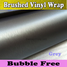 Tiatanium Brushed aluminum Vinyl Wrap With Air Bubble Free Metal Grey Brush Steel Film Automobiles & Motorcycles 1.52*30M/Roll(China)