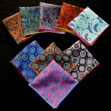 Luxury Men's Paisley Floral Silk Handkerchief Orange Red Blue Pocket Square Vintage Men Hanky Wedding Party Chest Towel 22*22CM