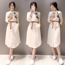 The new spring summer han edition beautiful women cultivate one's morality is irregular embroidery fashion long-sleeved dress