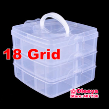 1pcs/lot 18 Grid 15x15x13cm Transparent Boxes Plastic Acrylic Cosmetic Nail Art Pill Box Case Portable Storage Container Y2659