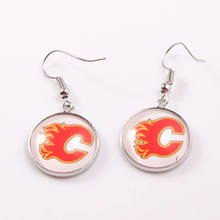 NHL Earrings Calgary Flames Winnipeg Jets Ice Hockey 18mm Glass Time Gem Cabochon Dangle Earrings for Women Fans Drop Shipping(China)