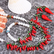 1Set Red Chili Lampwork Murano Crystal Faux Pearl Necklace Bracelet Earrings Set(China)