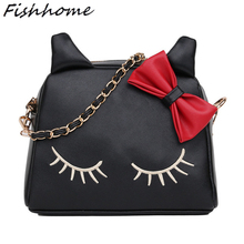 Hello Kitty Woman Leather Messenger Bags Cartoon Style Chain Lady Shoulder Bags Luxury Handbags Bow Women Shell Bag Bolsa YH368Z