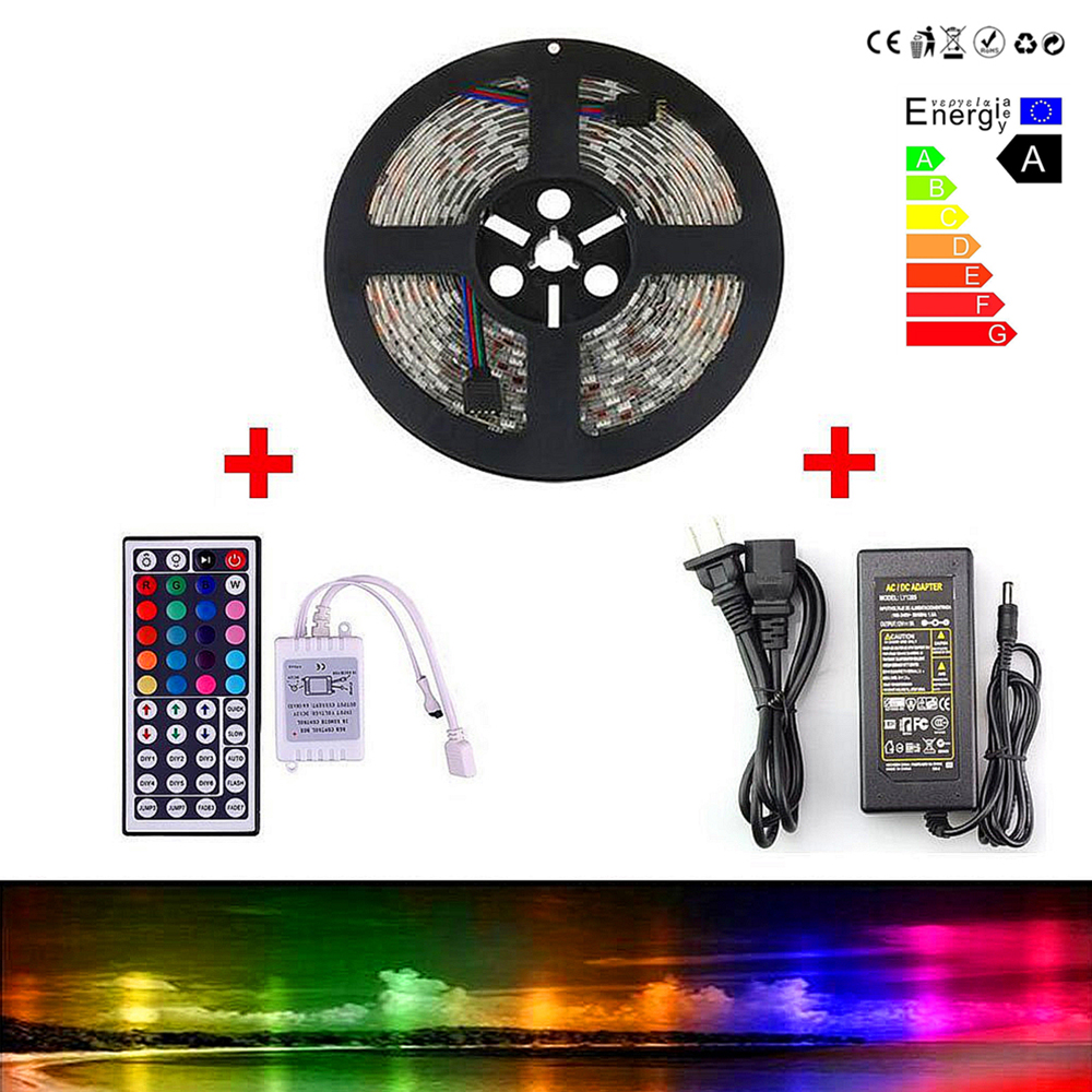 mumeng LED Strip 5M RGB String 60led/m SMD5050 rgb led Tape 12V Strip Light Non Waterproof Trias Set with Remote Control<br><br>Aliexpress