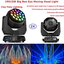 2XLot Big Bee Eye Moving Head Wash Lights 19X15W RGBW 4IN1 LED Beam Moving Head Lights 4-60 Degree Electronic Zoom Angle