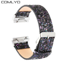 Fashion For Fitbit Ionic band smart watch strap with Stainless steel adapter Christmas flashes Genuine Leather design wristbands(China)