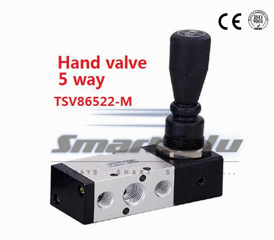 Free shipping 5 way 2 position Pneumatic air hand control valve TSV86522-M Port 1/4 BSP Manual valve Mechanical lock<br><br>Aliexpress