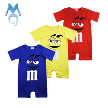 MQ 2017 Baby Boy Romper Summer Short Sleeve Cotton Jumpsuit Cartoon Printed Baby Rompers Overalls Newborn Baby Boy Girl Clothes