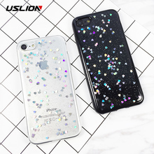 USLION For iPhone 6 6s Plus Case Glitter Love Heart Star Phone Cover Soft TPU Clear Back Cases For iPhone X 6S 7 8 Plus 5 5s SE(China)