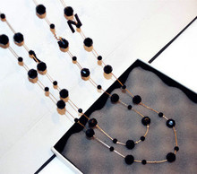 New Arival Classic Black Crystal Beads Long Necklaces Fashion Brand Layer Sweater Chain Necklace Women Accessories Mujer