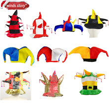 1Pieces Multicolor Clown Jester Circus Jokers Hat with Bells Party Costume Accessories fancy dress party Mardi Gras Carnival Hat(China)