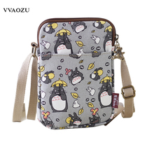Japan Anime Women Kumamon Totoro Mini Phone Shoulder Bag Sling Pack Ladies Cartoon Canvas Crossbody Messenger Pouch Bags