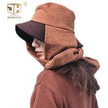 Joejerry invierno sombrero de cubo con bufanda lana bufanda Flet sombrero  de cubo de los hombres de las mujeres de punto de 2018 3b397d5f26c